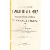 """Crkvene naredbe o zabrani i censuri knjiga ili tumačenje apostolske konstitucije """"Officiorum ac munerum"""""""